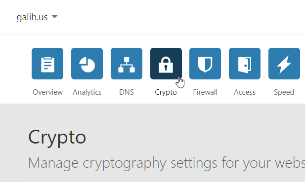 Menu Crypto di cloudflare