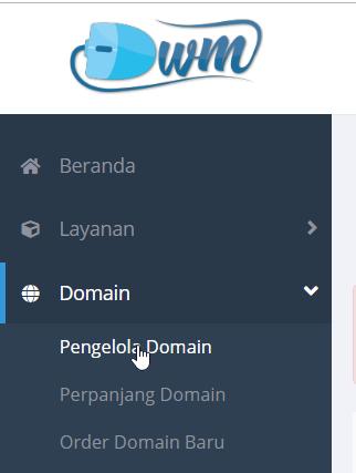 menu pengelola domain
